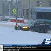 Car Crashes During Report on Safe Driving in Snow