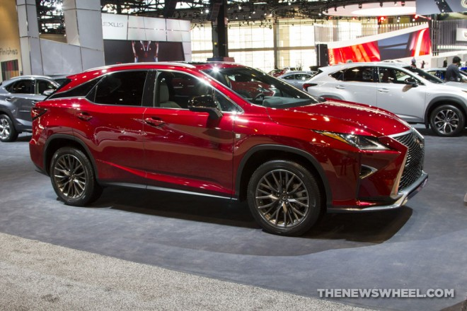 2017 lexus rx 300 f sport red suv on display chicago auto show 2 the news wheel. Black Bedroom Furniture Sets. Home Design Ideas
