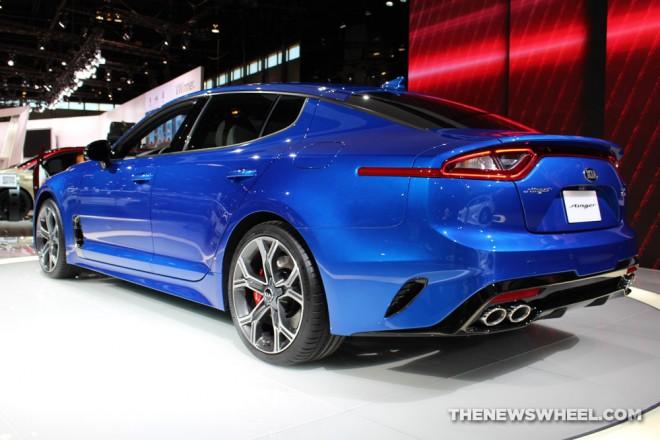 2018 kia stinger blue sedan car on display chicago auto show 4 the news wheel. Black Bedroom Furniture Sets. Home Design Ideas
