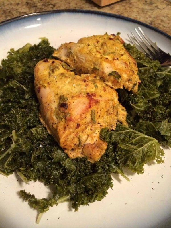 Pictured: Chicken being ruined by presence of kale