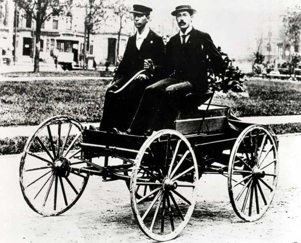 Charles Brady King Drives First Automobile