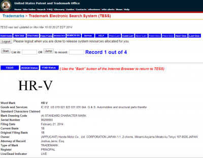 USPTO - Trademark for the HR-V