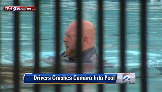 Camaro Crashes into Pool