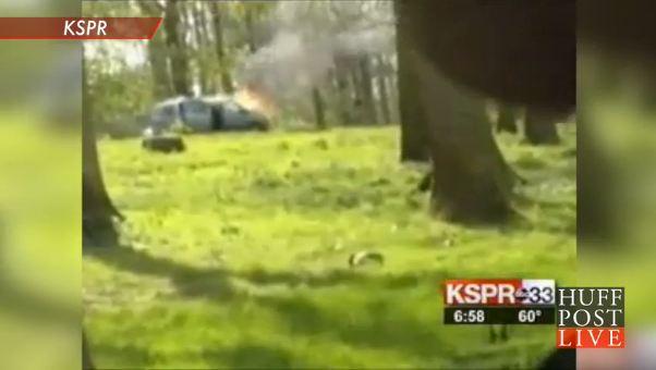 Car Burns in Lion Safari