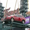 Detroit hoisted up the Equinox as one of the 2014 Chevy Cars in Comerica Park for Opening Day of Major League Baseball.