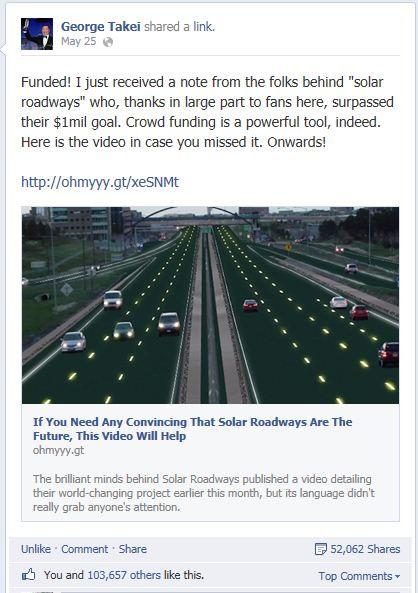 solar freakin' roadways goal - George Takei post