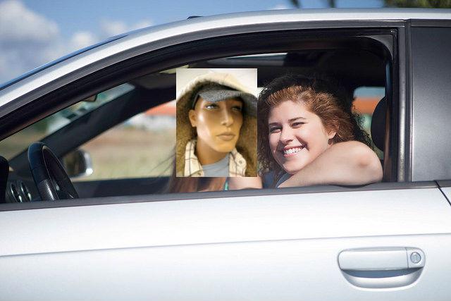 Mannequin Head as Carpool Lane Passenger