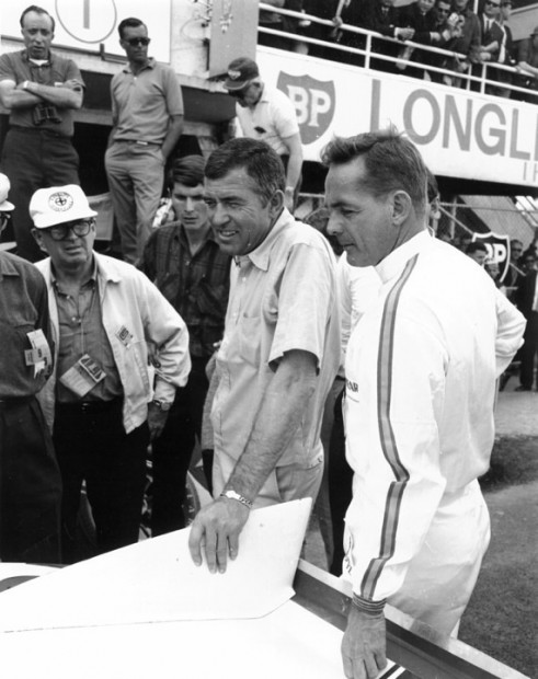 Carroll Shelby and Phil Hill at Le Mans, 1965 [Photo: Dave Friedman]