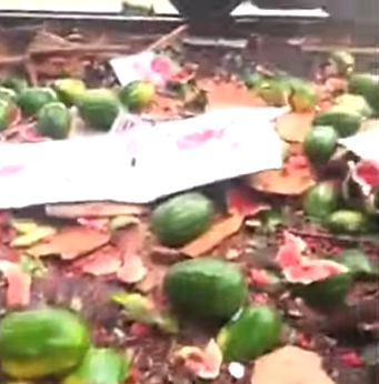 train hits a watermelon truck