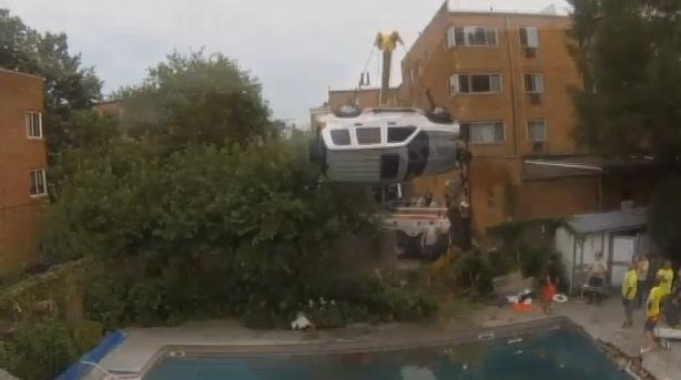 Jeep Crashes into Pool