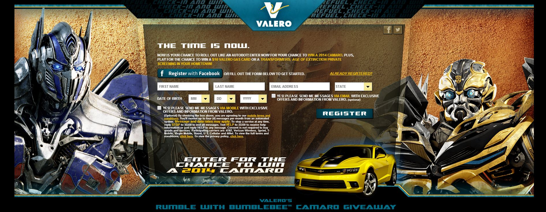 Rumble with Bumblebee Camaro Sweepstakes