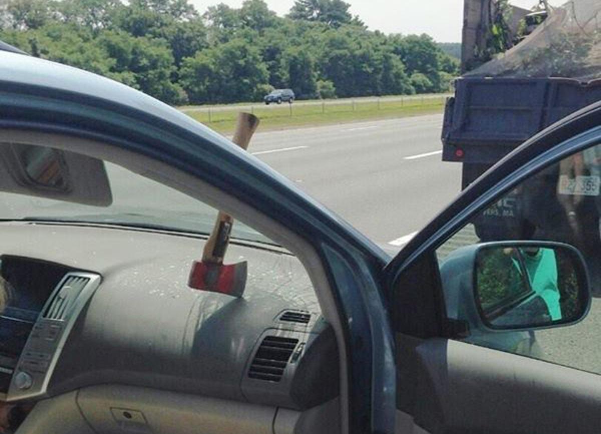 Hatches Smashes windshield