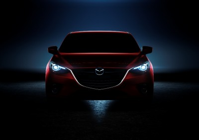 2014 Mazda3 Front headlights in darkness red