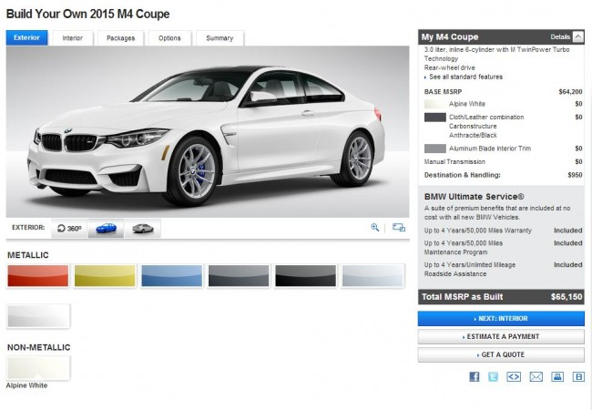 2015 BMW M4 Coupe Configurator Exterior Home Screen