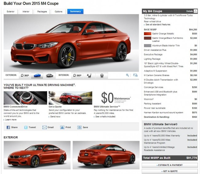 2015 BMW M4 Coupe Configurator Final Cost