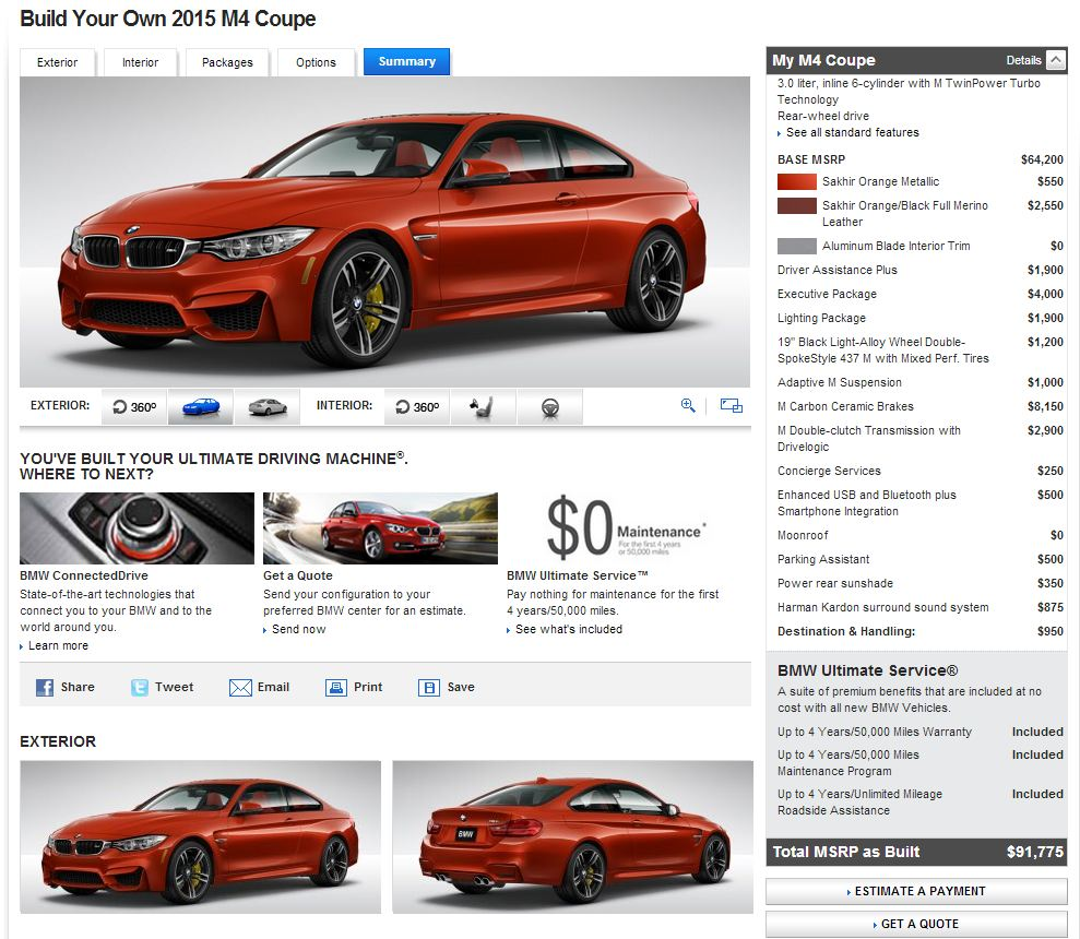 BMW M Coupe Configurator Hits The Web The News Wheel - 2015 bmw m4 msrp