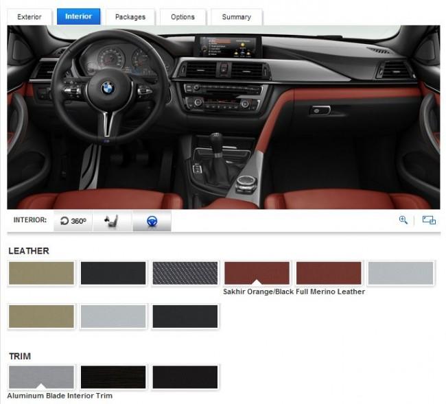 2015 BMW M4 Coupe Configurator Interior Trim