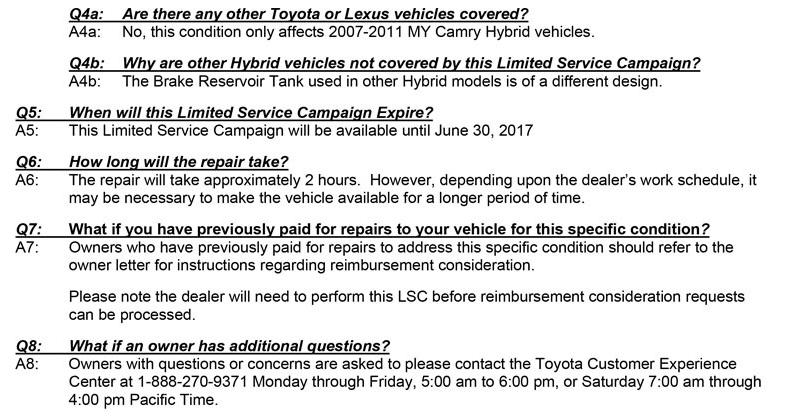 Camry Hybrid braking system recall