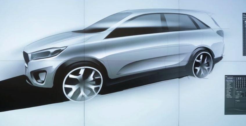 The third-generation Kia Sorento, sketched out