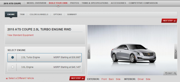 A screen grab of the 2015 Cadillac ATS Coupe configurator