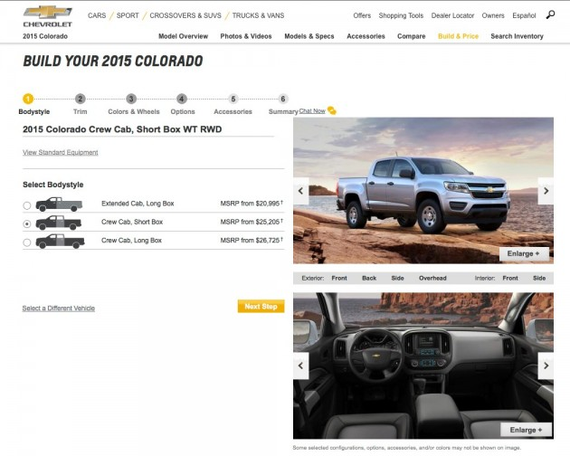2015 Chevy Colorado Configurator