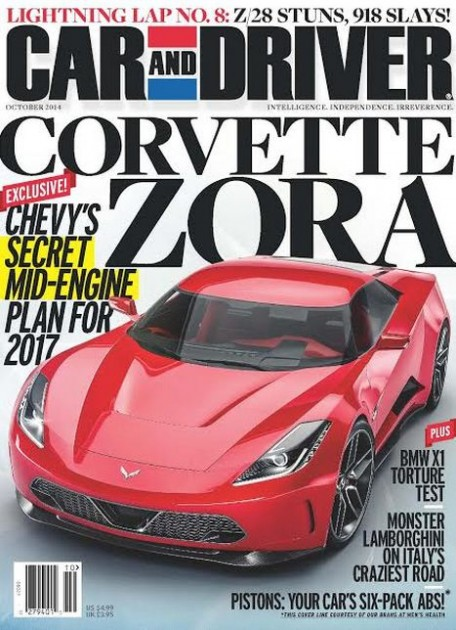 The October issue of Car and Driver highlights Chevy's upcoming mid-engined Corvette Zora ZR1.