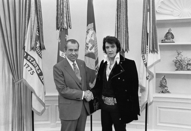 Pictured: Richard Nixon and Elvis Presley (not pictured: Elvis Pressley)
