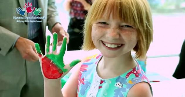 Hyundai Hope on Wheels ambassador Ashley Burnette  shares her hand print