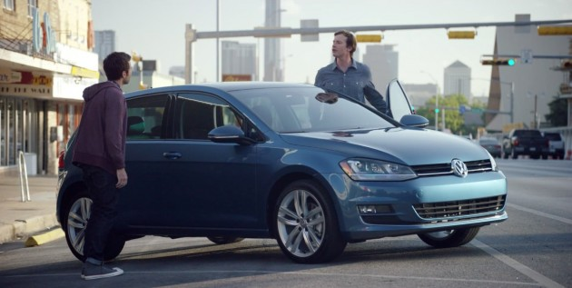 Rob Huebel (right) stars in this ad for the 2015 VW Golf