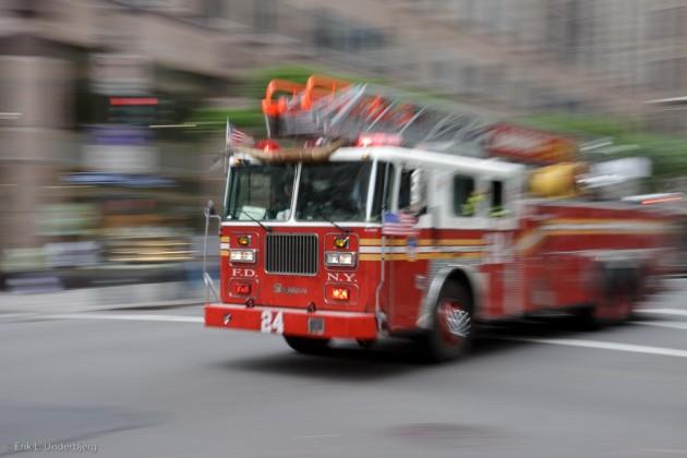 Firetruck racing down the street