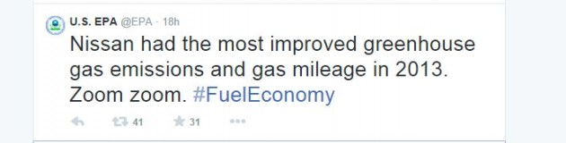 EPA Best Fuel Economy Ratings 2014 Twitter Nissan Most Fuel-Efficient Car Brand