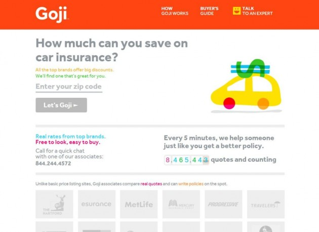 Goji Website Screen shot helps save on car insurance 2
