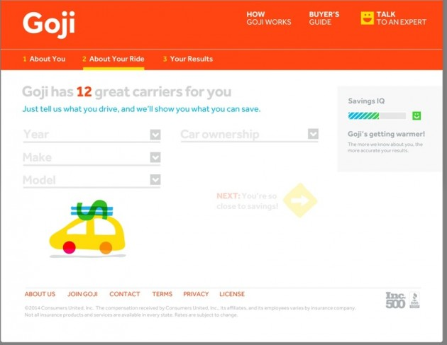 Goji Website Screen shot helps save on car insurance