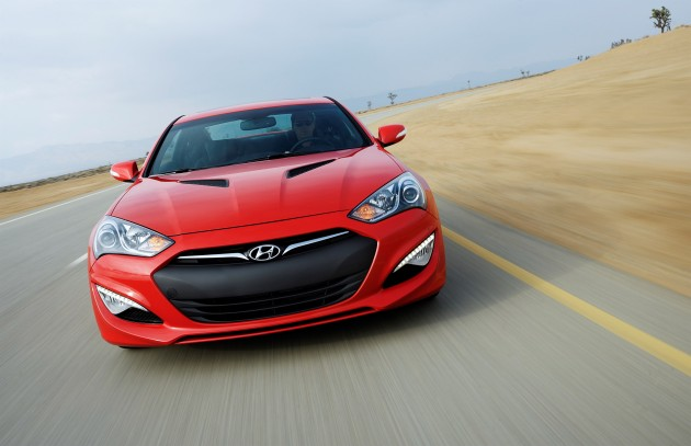 2015 Genesis Coupe red exterior