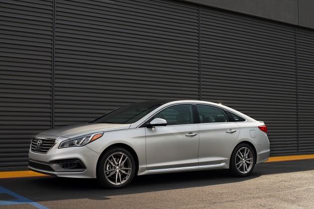 2015 Sonata 2.0T white exterior