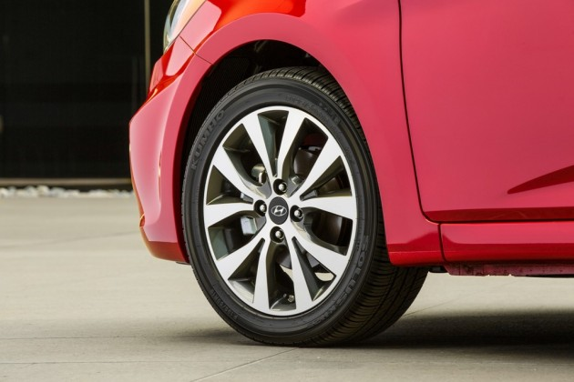 2015 Hyundai Accent Overview red exterior tires wheels