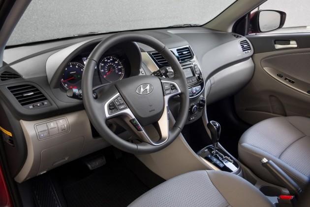 2015 Hyundai Accent Overview interior steering wheel dashboard grey