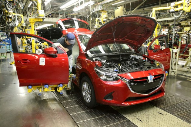 Mazda2 Thailand's First Diesel Car Red good design award exterior being built car manufacture