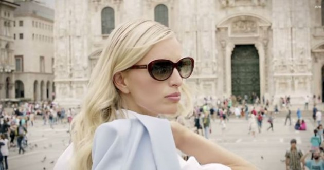 Model Karolina Kurkova promotes BMW video