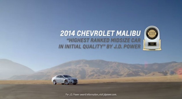 The Initial Quality designation is among the several 2014 Chevy Malibu awards given out this year