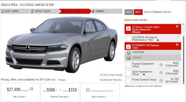 2015 Dodge Charger configurator