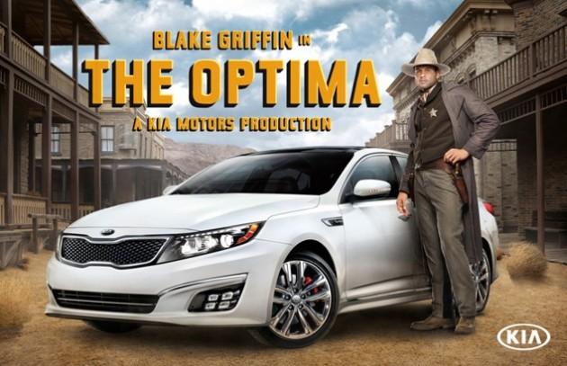 western themed blake griffin kia commercial promotes kiiii aaa optima