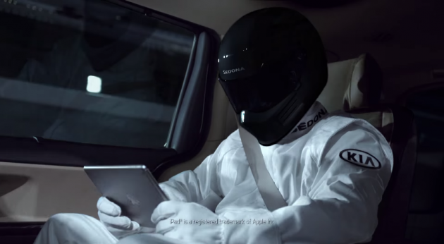 Kia Sedona Commercial With Stig-esque Drivers Gets Digitally Altered