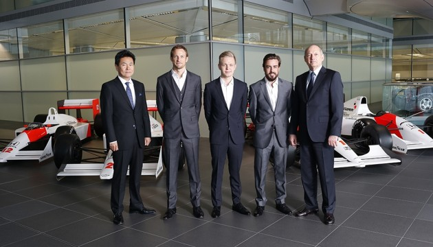 2015 Formula 1 Season McLaren-Honda drivers announced: (Left to right) Yasuhisa Arai, Jenson Button, Kevin Magnussen, Fernando Alonso, Ron Dennis.