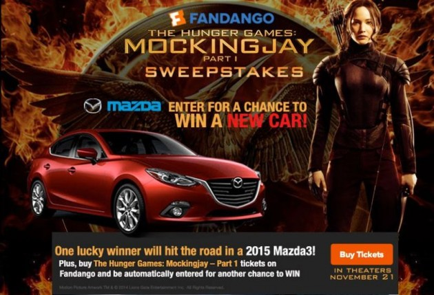 Mockingjay Sweepstakes Mazda3 Hunger Games 1