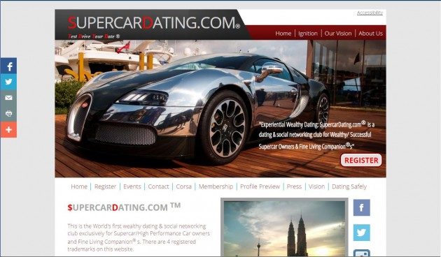 Supercar Dating Website Home Page