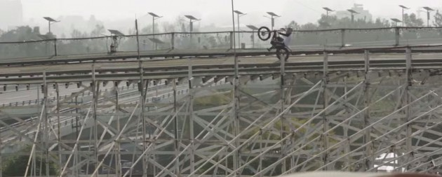 motorcycle on a roller coaster