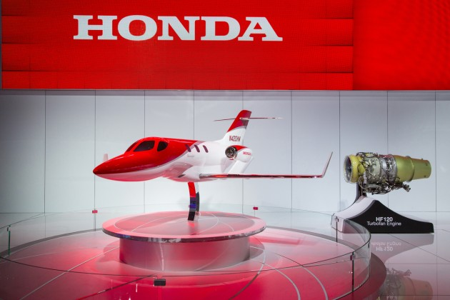 Scale model of the HondaJet at the 2015 North American International Auto Show in Detroit
