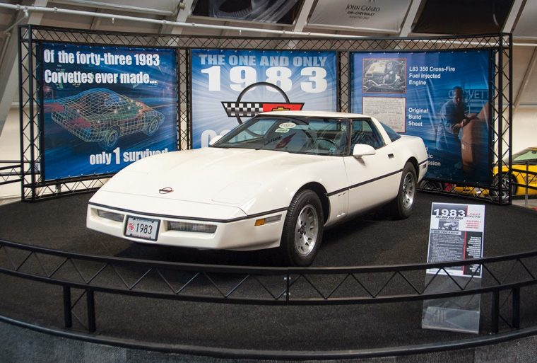 The one and only 1983 Corvette in its new display at the National Corvette Museum