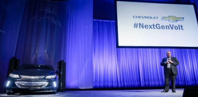 Chevrolet Global Chief Marketing Officer Tim Mahoney offers a sneak peek at the 2016 Chevy Volt  on Sunday, January 4, 2015 at the Consumer Electronics Show in Las Vegas, Nevada.